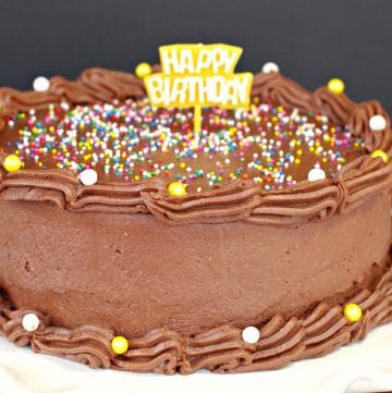Happy birthday cake decorated with chocolate frosting without butter