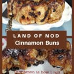 collage of 2 photos of land of nod cinnamon buns