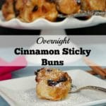 These Overnight Cinnamon Sticky Buns use frozen dinner rolls and are prepped the night before, then baked in the morning, making them a quick and easy breakfast the next day. They are perfect for bringing along to a holiday breakfast/brunch or breakfast potluck!