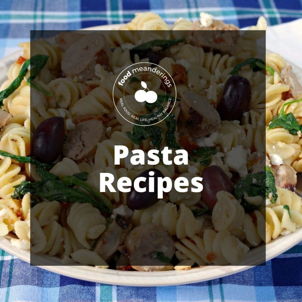 pinterest board cover for pasta recipes (see through black with white writing) and picture of pasta in background