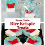 Collage of 2 photos of snow globe Christmas rice krispie treats