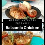 Collage of 2 photos of balsamic chicken