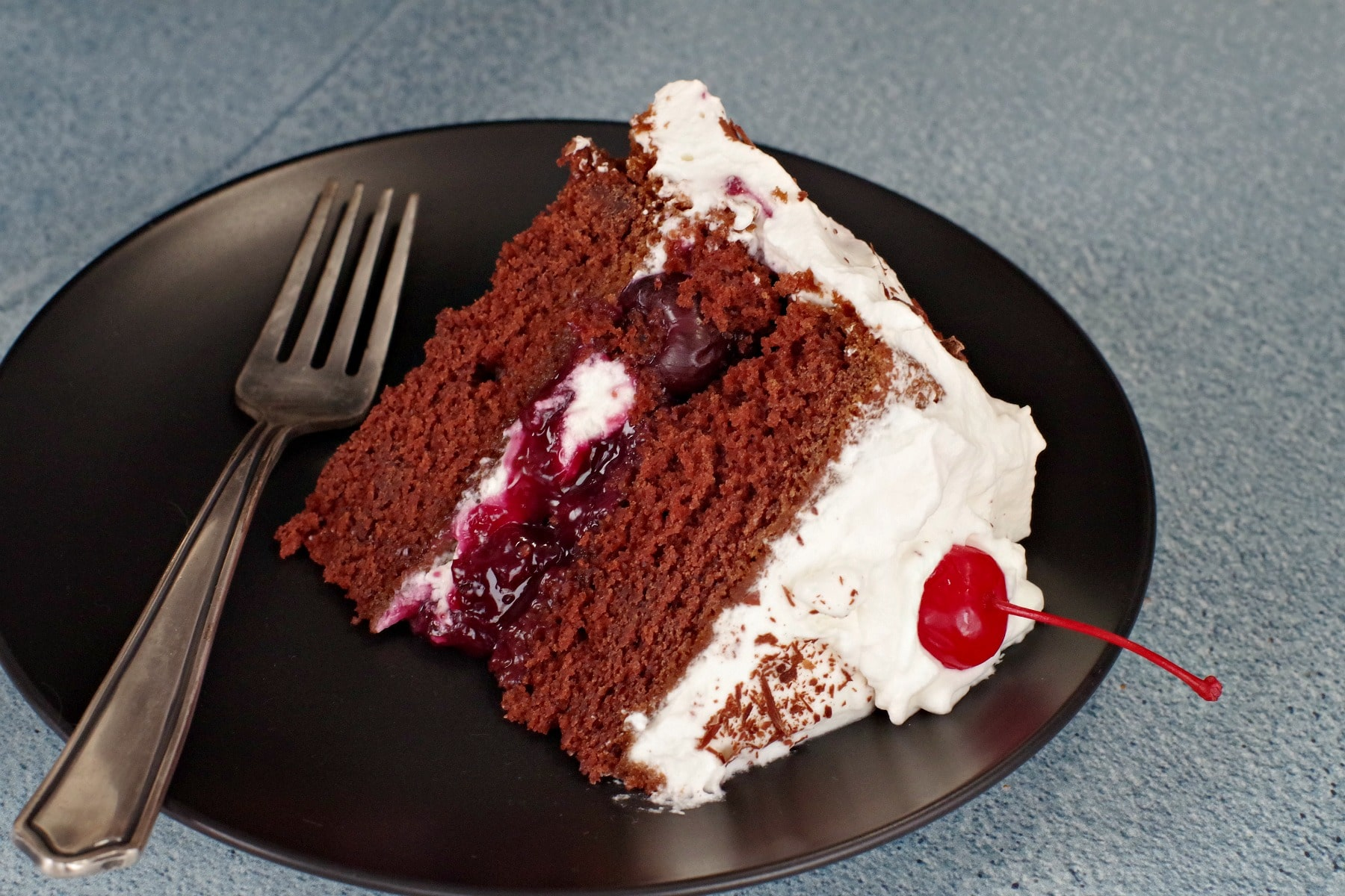 black forest cake made with sour cream chocolate cake