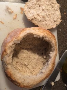 Inside of bread bowl being scooped out