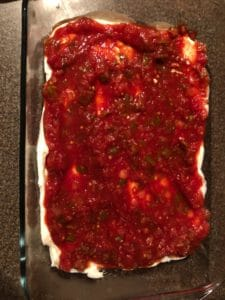 salsa spread on sour cream layer