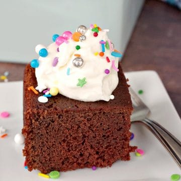 Piece of Sour Cream Chocolate Cake with whipped cream and sprinkles