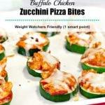Buffalo Chicken Zucchini Pizza Bites on an off-white baking tray