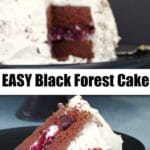 piece of black forest cake on black plate with whole cake on black stand in background
