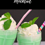Pinterest pin with white text on black background at top and bottom and photo of 2 green grasshopper mocktail glasses clinking together