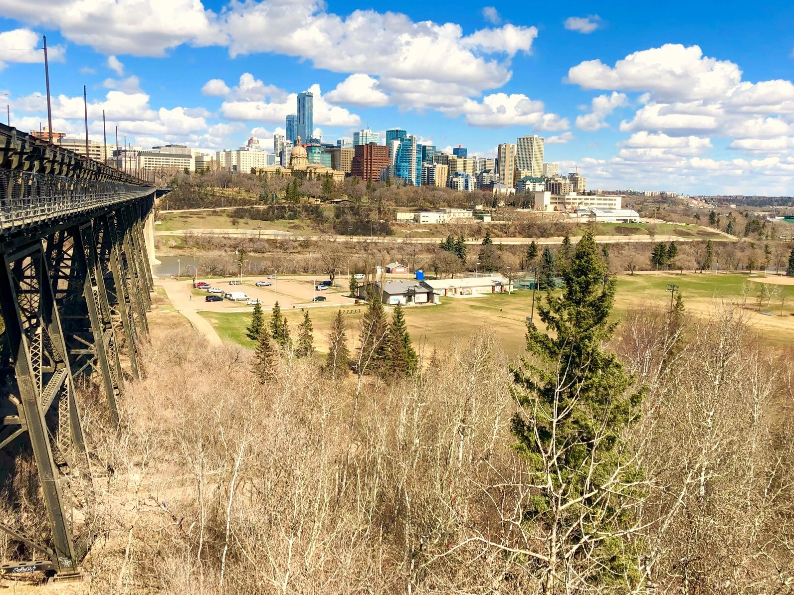 view from Highlevel Bridge in Edmonton, Alberta