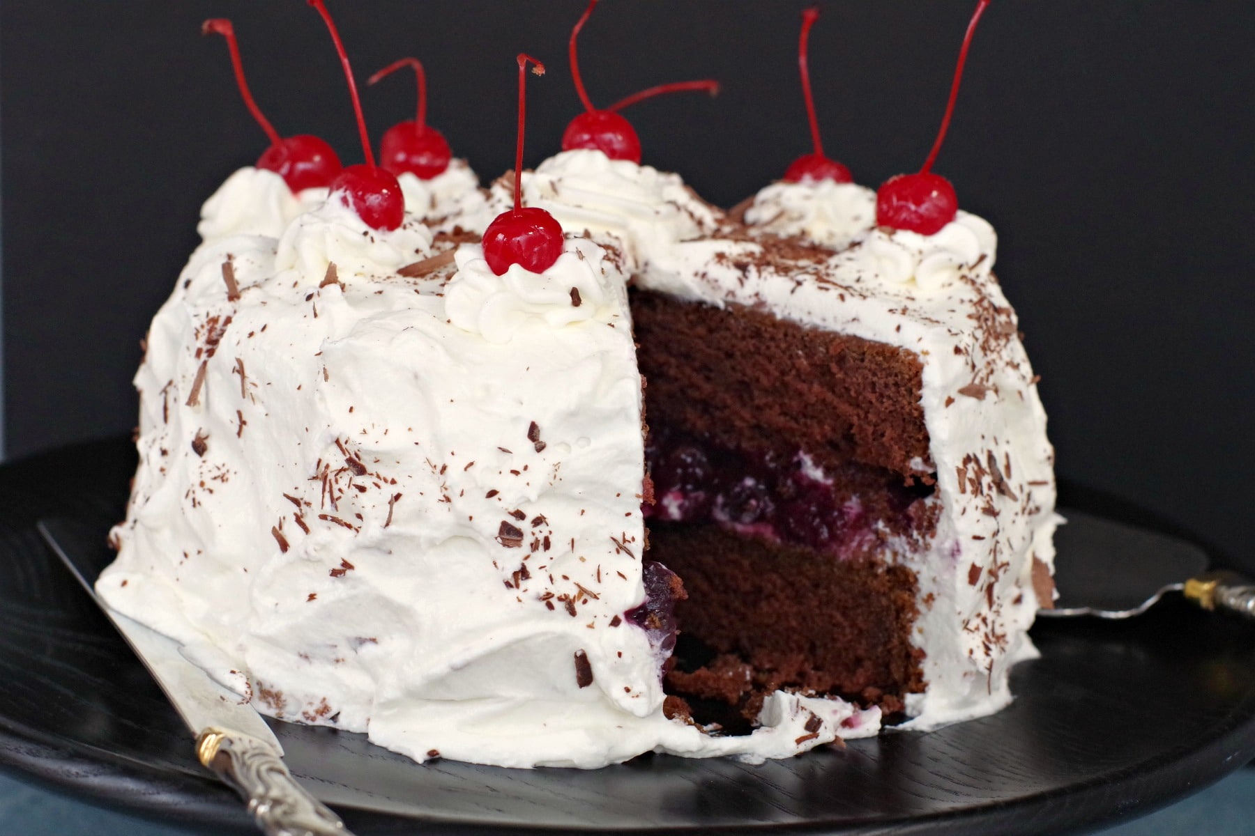 Homemade Black forest cake with slice taken out