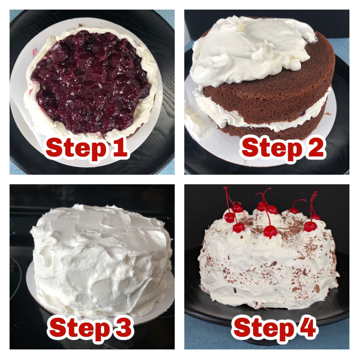 collage of 4 photos showing easy assembly instructions for black forest cake