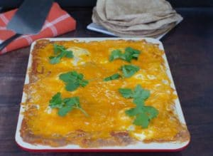 sheet pan huevos rancheros when it comes out of the oven