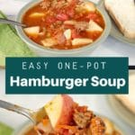 collage of 2 photos of hamburger soup