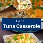 collage of 2 photos of 2 photos of tuna casserole