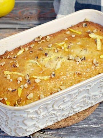 lemon loaf in off-white ceramic loaf pan