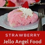 Piece of strawberry jello angel food cake on white plate with whole cake in background