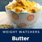 weight watchers butter chicken in a white bowl with, red, yellow and blue design