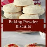 pin collage of 2 photos of baking powder biscuits with text in the middle. The top phone is a stack of biscuits and the bottom is a biscuit with jam on it.