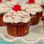 chocolate tiramisu cupcakes on a white cake platter