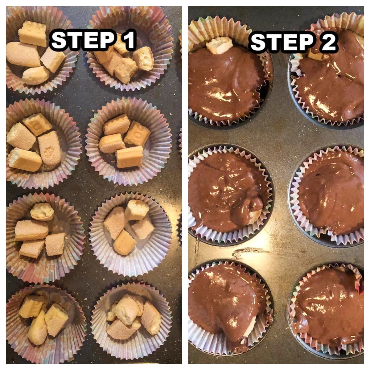 collage of 2 photos of how to make tiramisu cupcakes