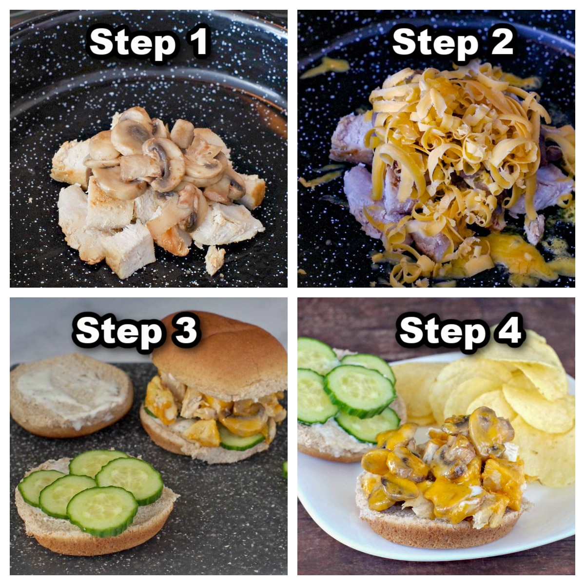 collage of 4 photos showing steps to make a chicken breast burger