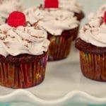 tiramisu cupcakes on white cake platter