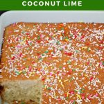Pinterest pin with white text on green on top and bottom and photo of cake