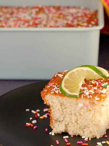 tres leche cake on a plate