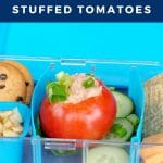 pinterest pin with white text on blue background and photo of stuffed tomato in bento lunch box