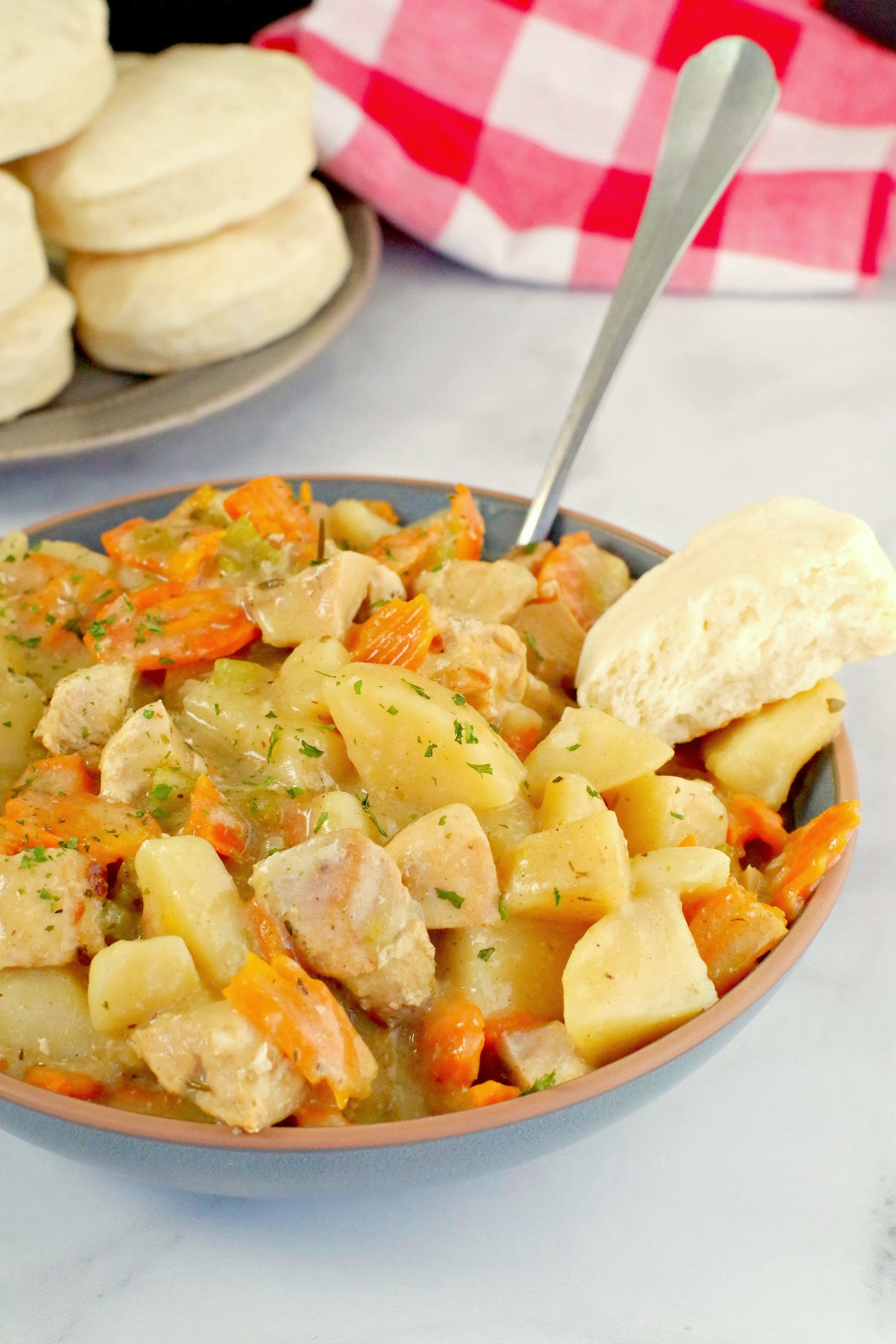slow cooker chicken stew in blue bowl with biscuit on the side