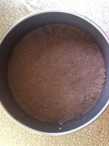 chocolate crumbs pressed into springform pan