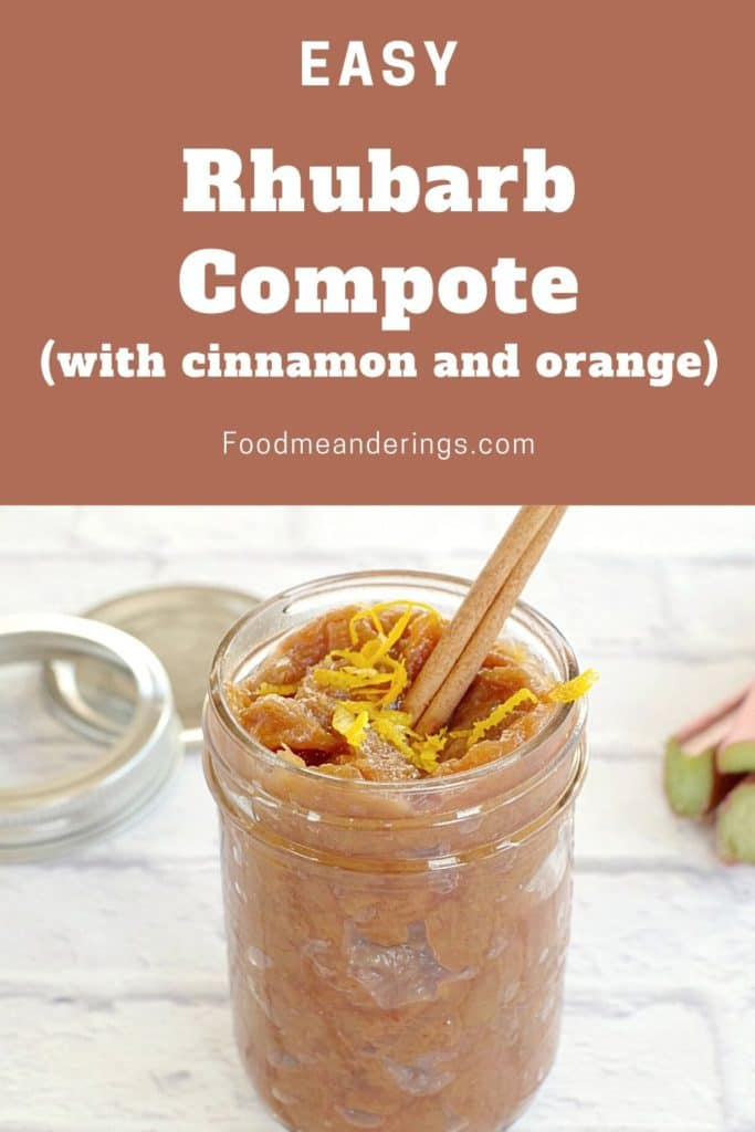 rhubarb compote in a jar with a cinnamon stick and orange zest