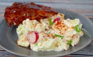 potato salad on plate with ribs