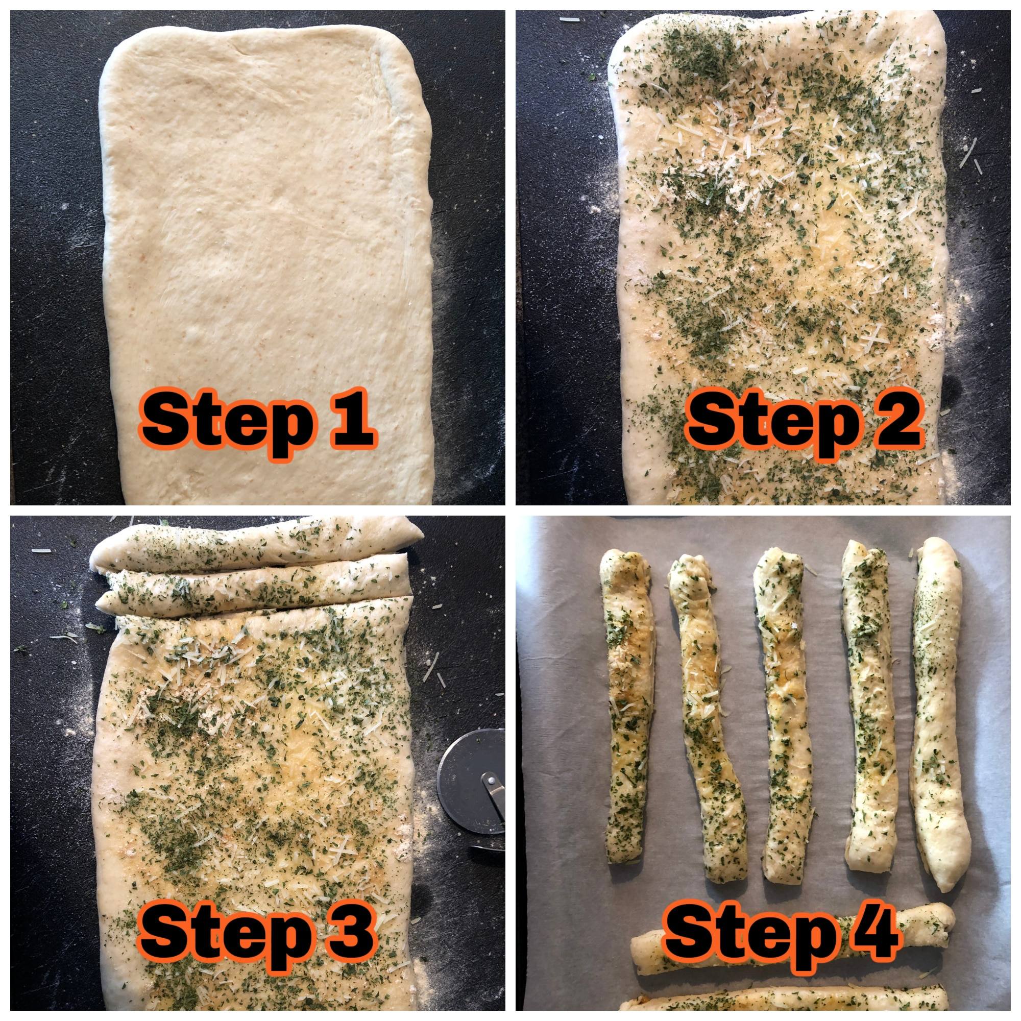 4 step process for how to make bread machine breadsticks