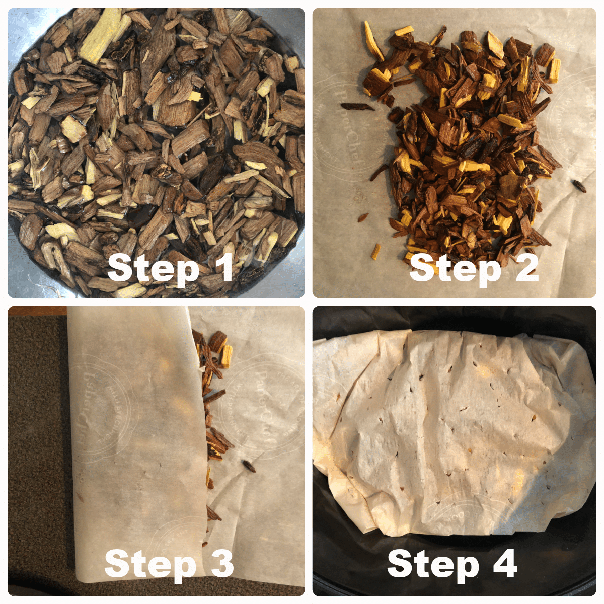 shows photos of 4 steps to making a wood chip packet for the slow cooker