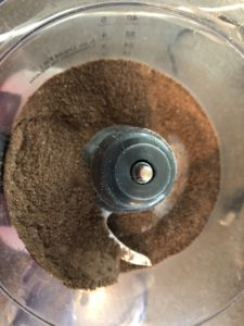 chocolate graham crumbs in food processor