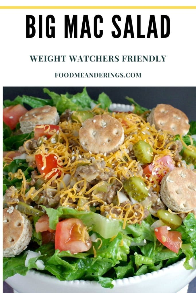 pin with text and photo of Big Mac salad (from top) in white bowl)
