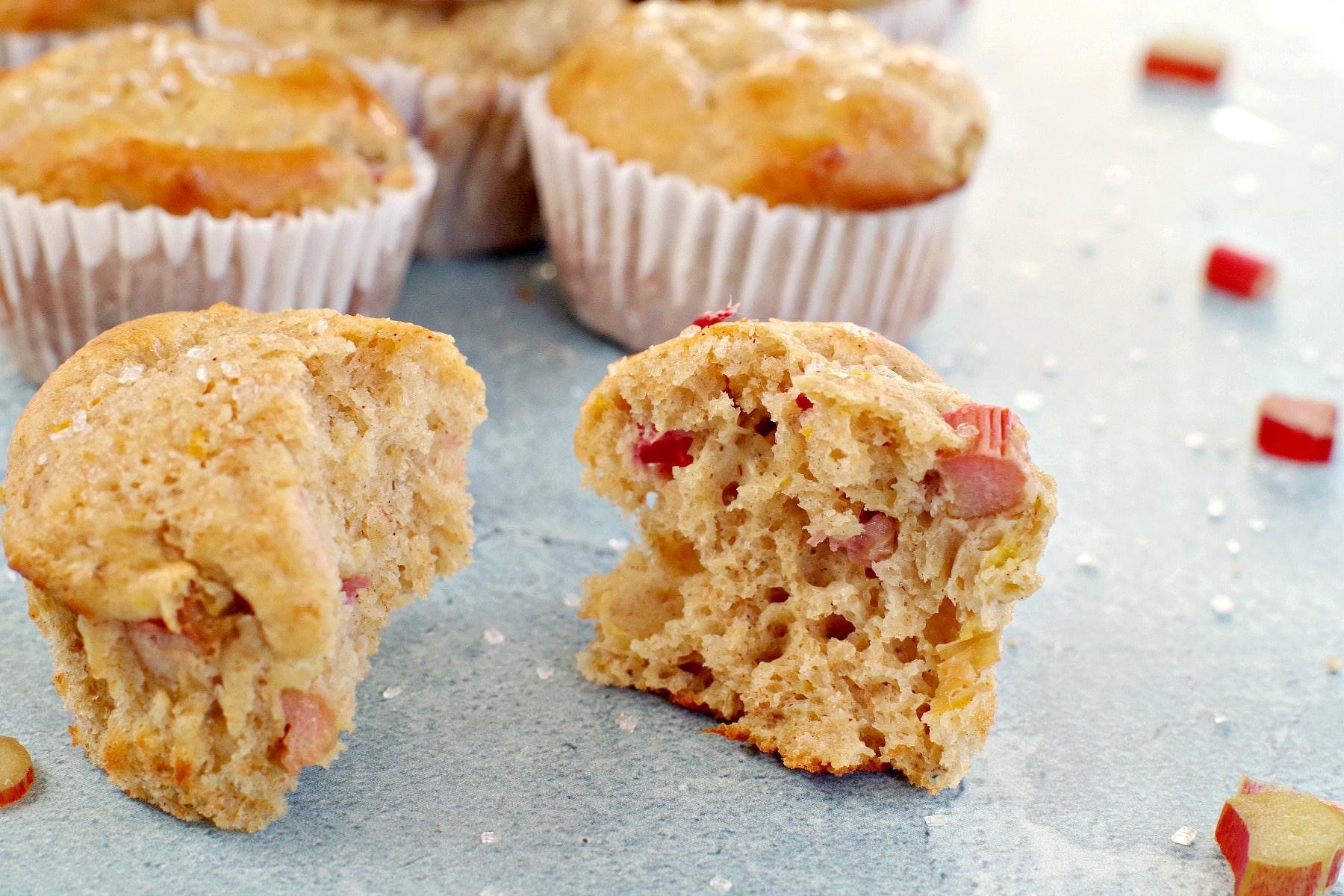 rhubarb muffin split open