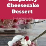 pin with text at the top and photo of dish of weight watchers chocolate raspberry cheesecake dessert in a white petal bowl with spoon