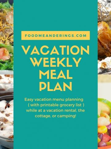 collage of easy vacation meals with text