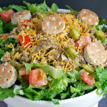 Big Mac salad (from top) in white bowl)