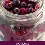 top view of No Bake Saskatoon berry cheesecake in a jar