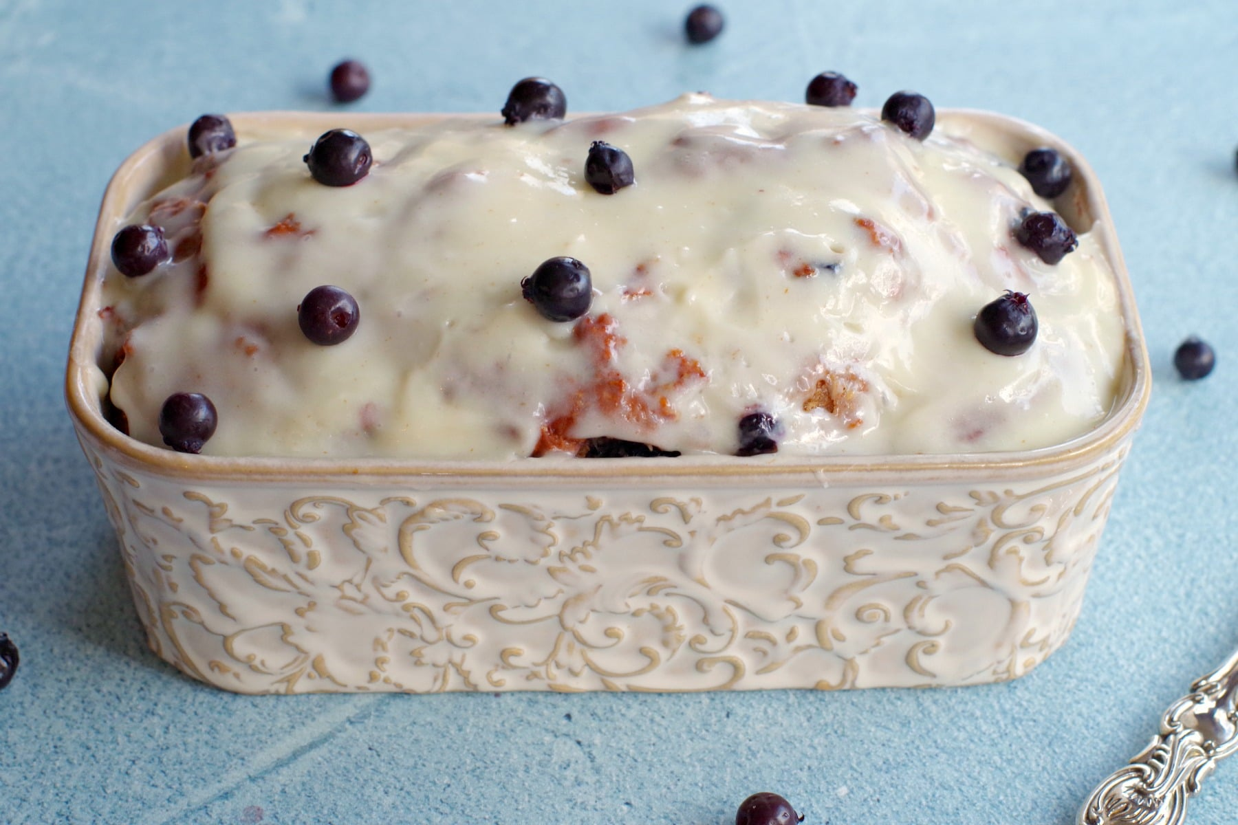 Whole Saskatoon berry loaf in loaf pan