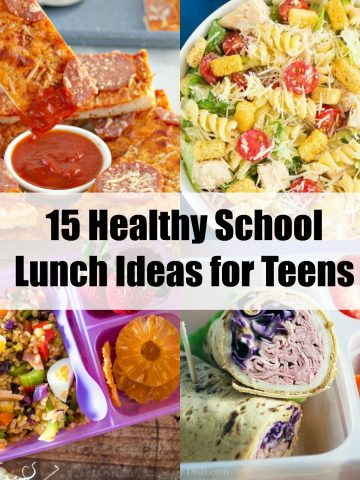 collage of 4 photos of healthy school lunch ideas for teens