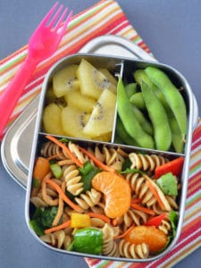 Chinese Mandarin Pasta Salad in bento box