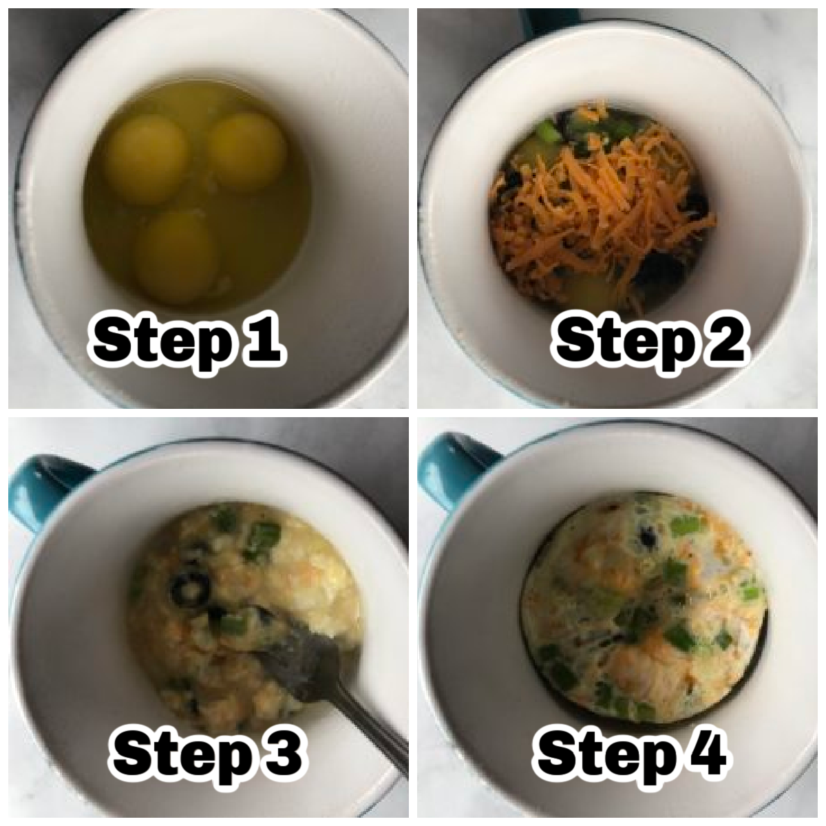 Collage of 4 photos of steps for how to make an omelette in the microwave