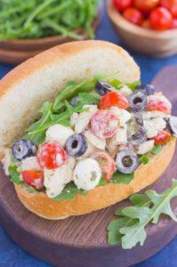 open Italian chicken salad sandwich