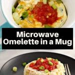 Microwave Omelette in a Mug being held up on a spoon over mug