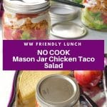 pinterest pin collage of 2 photos of WW chicken taco salad, with white text on purple background in the middle